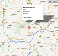 Breen Steel Sheds Location Map